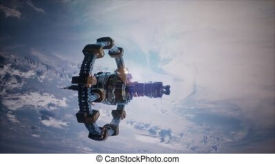4k Flight Of The International Space Station Above the...