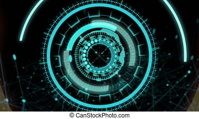 4K Flighting and moving pass through HUD Head Up Display element for Technology and futuristic concepts