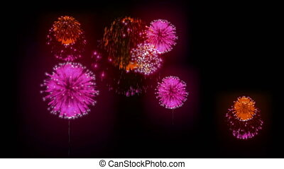 4k, fogo artifício, experiência., coloridos, fireckrackers, em, feriado, night., diferente, animation., versão, 2.