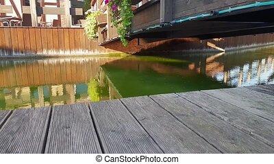 4k footage of camera moving along beautiful riverbank and...