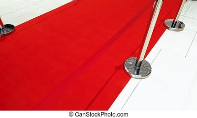 4k footage of camera moving along long red carpet path and...