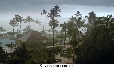 4k footage of heavy rain and storm at hotel resort on ...