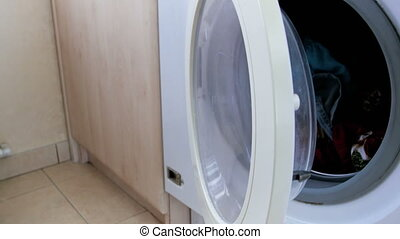4k footage of laundry interior in house - 4k video of...