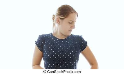 4k footage of young woman feeling bad smell under armpits -...