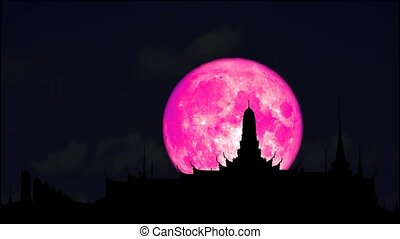 4k full pink moon rise back on silhouette buddhist temple