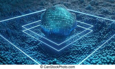 4K Futuristic Artificial Intelligence CPU. Seamless loop.