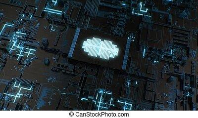 4K Futuristic CPU / Chipboard / AI / Deep Learning Concept....