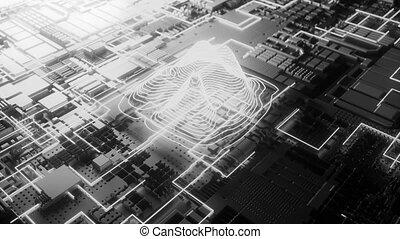 4K Futuristic CPU. Seamless loop