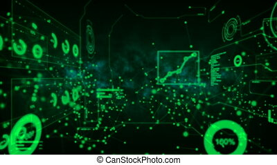 4K Futuristic cyber technology abstract dark background Dot...