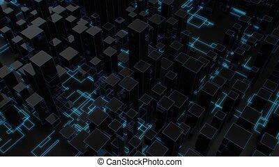 4K Futuristic Multiple Core Processing Unit. High quality CGI animation.