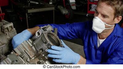 4k, garage, moto, mâle, mécanicien, réparation, réparation,...