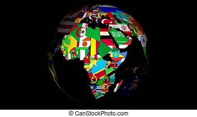 4k, globe, met, landen, en, hun, nationale, vlaggen