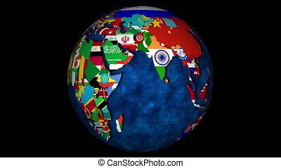 4k, globe, met, oceanen, en, met, de, landen, en, hun, nationale, vlaggen, ronddraaien
