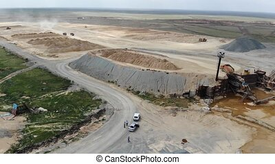 4k Gold mining industrial quarry, aerial view.
