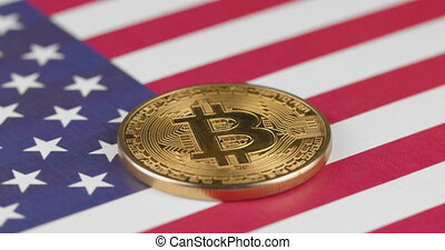 Bitcoin crypto on flag of United States of America