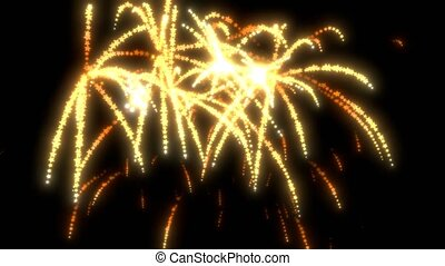 Golden fireworks background. Particle sparkle explosion glow on black