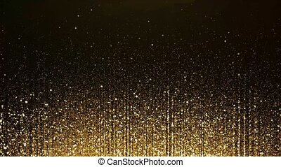 4K Golden particle bokeh dust light rising, Glitter luxury particle stripe Loop Cinematic background. Oscar awards gala show Particles. abstract light motion titles, music stage TV show.