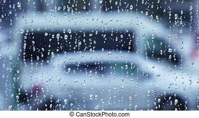 4k., gouttes pluie, fenêtre, verre.
