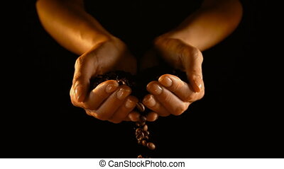 4k, grains café, mains, tomber