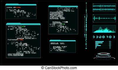 4K Hacker User inter face with random text window code...