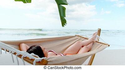 4k, hamac, caucasien, femme, dormir, jeune, plage