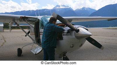 4k, hangar, moteur, avion, entretenir, ingénieur