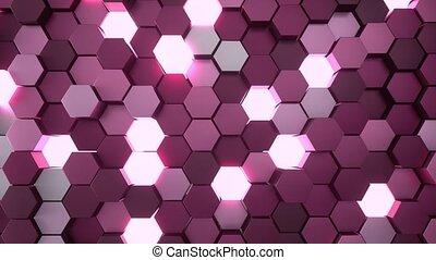 4K Hexagonal Grid. 3D CGI animation. Seamless loop