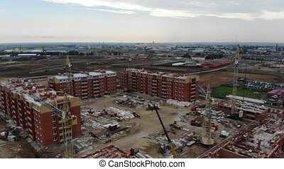 4k House construction, construction work. Aerial view of the...