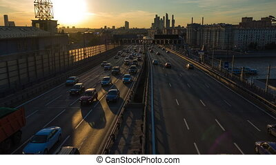 4K hyperlapse of road traffic and skyscrapers of Moscow city...