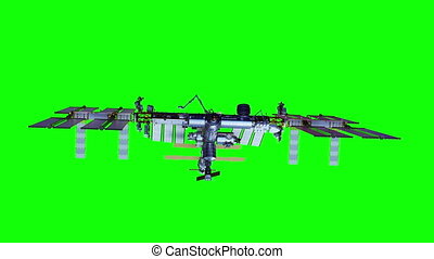 4K. International Space Station Rotates Solar Panels. Green ...
