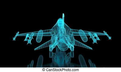 Jet Fighter Aircraft Mesh. Glow effect in blue color. Part of a series. 4K resolution (4096x2304)