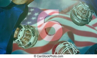 4k, joueur, contre, base-ball américain, drapeau, compte rebours