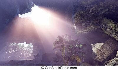 4k Jungle and rocks inside cave scene sliding
