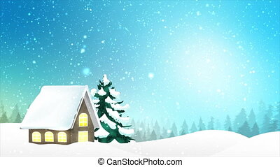 4K Landscape of house and winter snow falling over blue sky night with particle