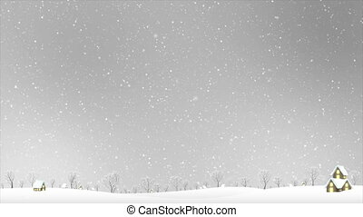 4K Landscape of house and winter snow falling over gray sky night with particle