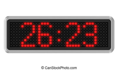 Red led dot display with 30 seconds countdown over a white background. Part of a series. 4k video resolution (4096x2304).