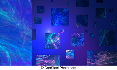 4K loop, Abstract square on blue background