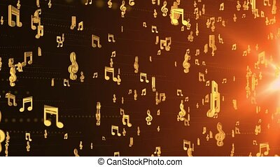 4K loop Animated Musical Music note background. Golden musical notes float swirling Background. Jazz album, symphony concert announcement. For event, concert, title, festival, party, Award, fashion.