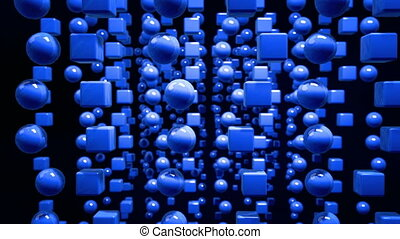 4k looped 3d animation with a shifting focus then back and forth, depth of field, bokeh effects. abstract composition with geometric objects like cubes with a hole. shades of blue 3