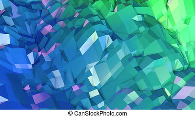 4k low poly background animation in loop. Seamless 3d...