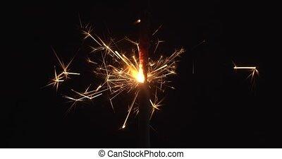 4K Macro Shot of a Sparkler Burning. Shot in RAW on a cinema...