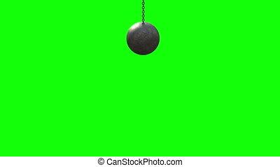 4K. Metallic Wrecking Ball. Front View. Green Screen 3D Animation.
