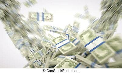 4K Money: dollar cash slow motion scattering on white. Alpha matte