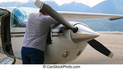 4k, moteur, avion, entretenir, ingénieur