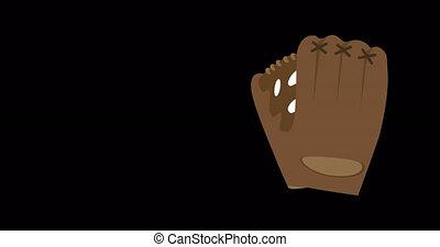 4k motion animation baseball glove. Sports flat icon isolated on black background video