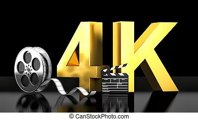 4k movie concept - cinema 4k concept 3d rendering image
