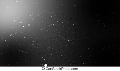 moving up glittering particles in space shining flying on black background for overlay