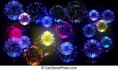 4K multiple fireworks. Beatiful colorful big firecrakers. 3d...