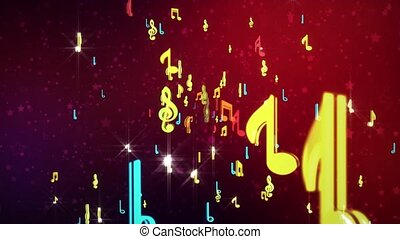 4K Music Musical symbols and notes, Music Floating Musical Notes Rainbow animation event background, audio visualization, fashion show, concert stage, music video, video art, VJs or party