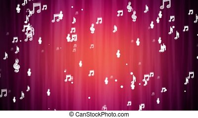 4K Music Musical symbols and notes, Music beat loop ready animation for your event, projection background, audio visualization, fashion show, concert stage, music video, video art, VJs or party